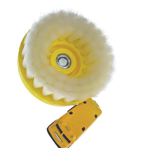 Bàn chải bánh tròn chuyên dùng vệ sinh nội thất nỉ, vải, vinyl,.. loại mịn - gắn máy 11cm  - màu trắng