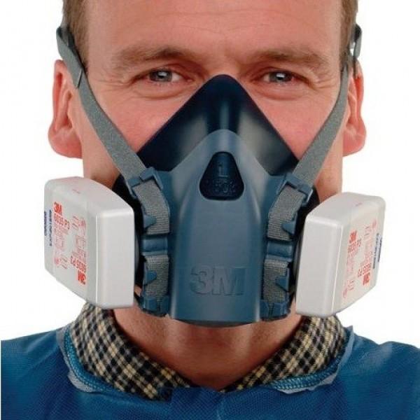 Bộ mặt nạ phòng độc nửa mặt 3M 7502 Respirator và 2 phin lọc bụi, hơi hóa chất, khuẩn trong không khí 6035