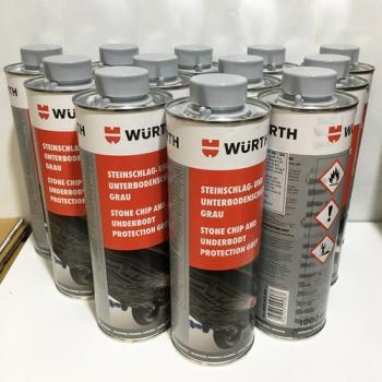 Thùng 12 chai phủ gầm xám gốc nhựa Wurth Stone Chip And Underbody protection grey 1lit
