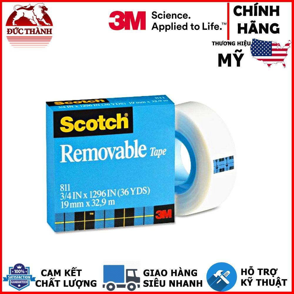 Băng keo dán tiền, ghi chú tàn hình có thể viết và tháo gỡ an toàn cho bề mặt 3M Scotch Removable 811 19mmx32.9m