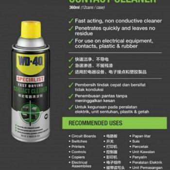 Chai xịt vệ sinh mạch, giắc, khớp nối điện WD-40 USA Contact Cleaner 360ml WD008