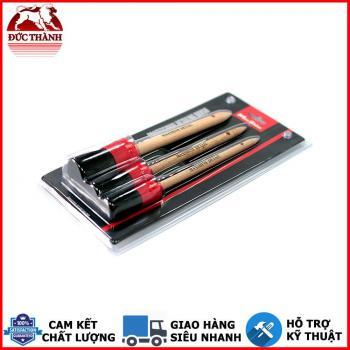 Bộ 3 cọ vệ sinh đa dụng cán gỗ Maxshine Detailing Brush Set 3 Pack 704610