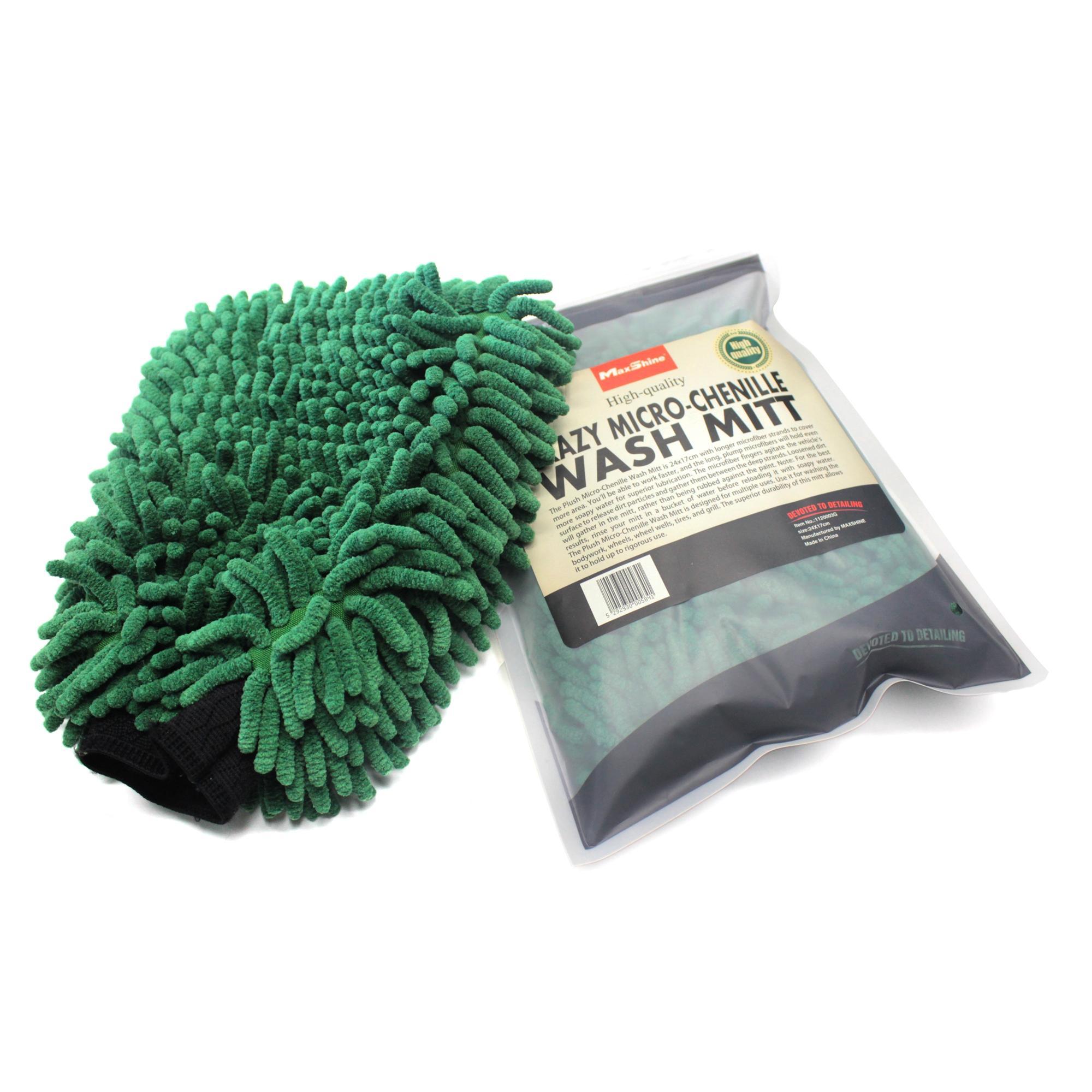 Găng tay rửa xe siêu mềm màu XANH sợi Microfiber giữ bọt MaxShine Crazy Micro-Chenille Wash Mitt 24x17cm 1120003G