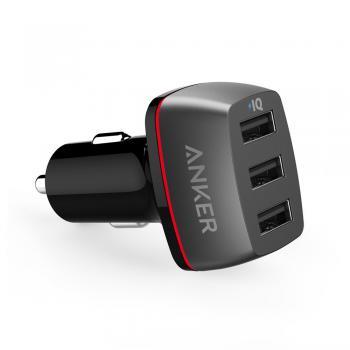 Sạc xe hơi 3 cổng Anker PowerDrive+3 - 36W hỗ trợ sạc nhanh và powerIQ