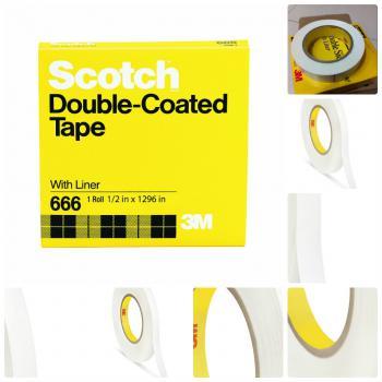Băng keo 2 mặt 3M 666 12.7mm x 72yds dùng trong in ấn, chế bản