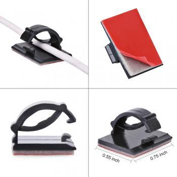 Clips - nẹp kẹp dây cáp điện tiện dụng có sẵn keo 3M màu đen 13mmx18mm
