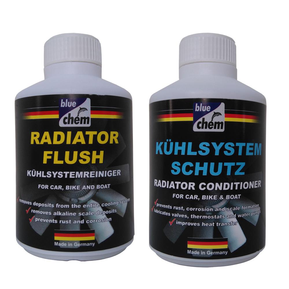 Bộ sản phẩm vệ sinh và bảo dưỡng két nước Bluechem Radiator Flush & Radiator Conditioner 300ml
