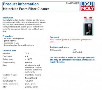 Dung dịch vệ sinh lọc gió dạng bọt Liqui Moly Motorbike Foam Filter Cleaner 1299 1lit